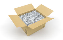 Cardboard box full of shipping protective peanuts Stock Images