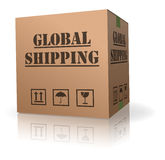 Cardboard box global international order shipping. Global or worldwide shipping of online order in brown cardboard storage box international package delivery vector illustration
