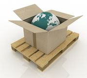 Cardboard box with globe Royalty Free Stock Images