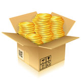 Cardboard Box with Gold Coins Stock Photo
