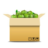 Cardboard box with green apples for sale Stock Photo