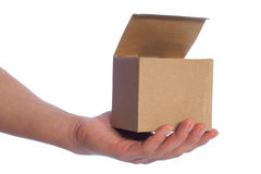 Cardboard box in hand. Cardboard box in hand isolated on white Royalty Free Stock Image