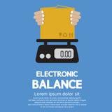 Cardboard Box In Hand On Electronic Balance. Vector Illustration Stock Image