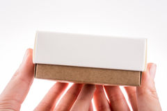Cardboard Box. Hand holding cardboard Box on a white background Stock Photo