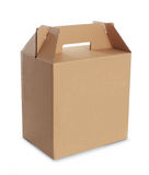 Cardboard box with handle. Isolated over a white background Royalty Free Stock Images