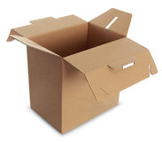 Cardboard box with handle Royalty Free Stock Photography