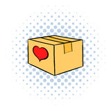 Cardboard box with heart icon, comics style Royalty Free Stock Photos