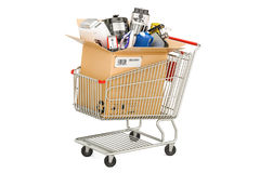 Cardboard box with household and kitchen appliances in the shopp Royalty Free Stock Photography