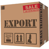 Cardboard box human trafficking royalty free illustration