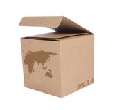 Cardboard box with Icon ecological map Euro+Asia Royalty Free Stock Photography