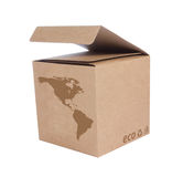 Cardboard box with Icon ecological map USA Stock Photos