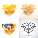 Cardboard box icons set Stock Photo