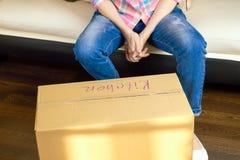 Cardboard box indoors. Stock Image