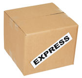 Cardboard box with an inscription express Stock Photos