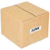 Cardboard box with an inscription junk. On white Royalty Free Stock Photos