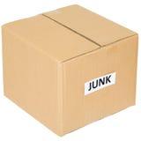 Cardboard box with an inscription junk royalty free stock photos