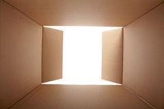 Cardboard box, inside view Royalty Free Stock Photography