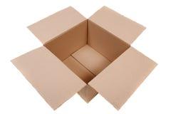 Cardboard box isolated. Open cardboard box closeup shot Stock Image