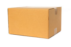 Cardboard box isolated on white background. Cardboard box container deliver and moving in isolated stock photo