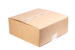 Cardboard box isolated on white Stock Photos