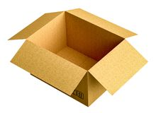 Cardboard box isolated on white background. 3d illustration Royalty Free Stock Images