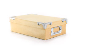 Cardboard box isolated on white. Close Cardboard box shoot on table Royalty Free Stock Photography