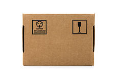 Cardboard box. Isolated on white with fragile sign Royalty Free Stock Photo
