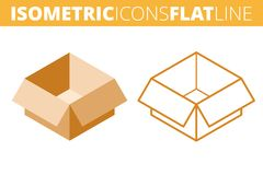 The cardboard box. Isometric, 3d flat and outline icon set. The cardboard box. Isometric flat and outline icon set. The empty paper package, post carton line Royalty Free Stock Photo
