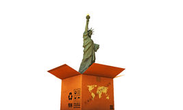 Cardboard box with liberty statue Stock Images