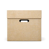 Cardboard box with lid on white background. 3d rendering.  Royalty Free Stock Photography