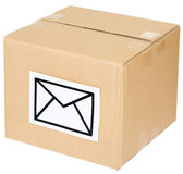 Cardboard box with a mail sign Stock Photography