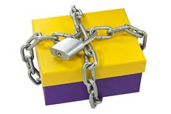 Cardboard box and a metal chain Stock Photography