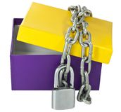 Cardboard box and a metal chain Royalty Free Stock Photography