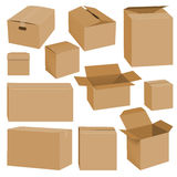 Cardboard box mockup set, realistic style. Cardboard box mockup set. Realistic illustration of 10 cardboard box mockups for web Stock Images