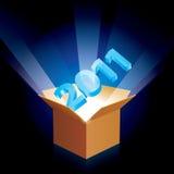 Cardboard box with new year Stock Photos