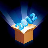 Cardboard box with new year Stock Image