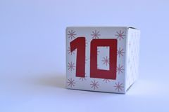 Cardboard box with the number ten. Patterned cardboard box with the number ten printed on it Stock Photography