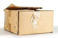 Cardboard box. The old cardboard box on a white background Stock Photos