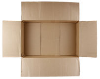 Cardboard box. Open empty cardboard box on white background stock photos