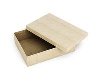 Cardboard box with open lid  on white background. 3d ren Royalty Free Stock Photography
