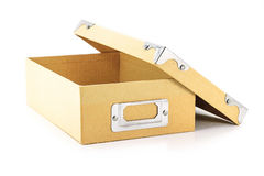 Cardboard box open up on white Stock Images