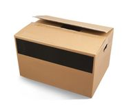 Cardboard box over white Stock Photo
