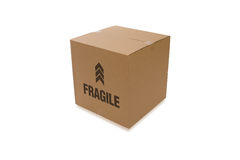 Cardboard Box Over a White Background Royalty Free Stock Image