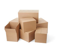 Cardboard box package moving transportation delivery stack Stock Photo
