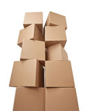 Cardboard box package moving transportation delivery stack Stock Photos