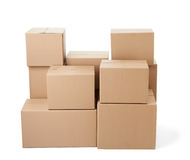 Cardboard box package moving transportation delivery stack Stock Images