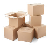 Cardboard box package moving transportation delivery stack Royalty Free Stock Images