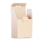 Cardboard box for packaging small items. Blank cardboard box for parts or small items,  on white Stock Image