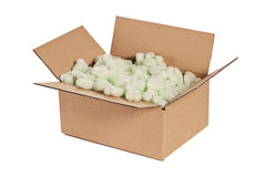 Cardboard Box with Peanuts Stock Photo