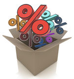 Cardboard box with percent. Sale concept Stock Photography